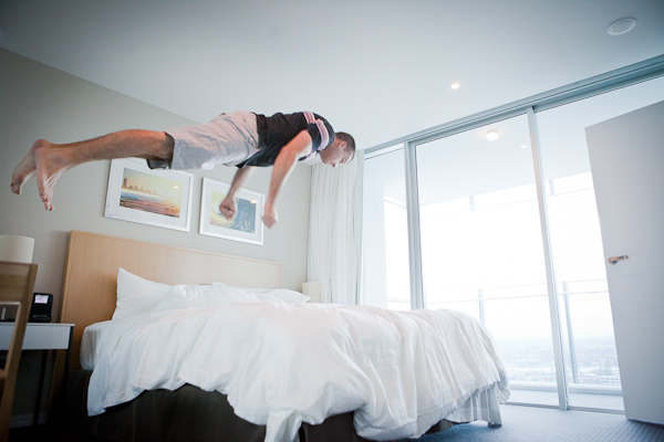 Jumping on Beds hilton floar